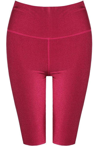 Wine Satin Disco Cycling Shorts - Helen