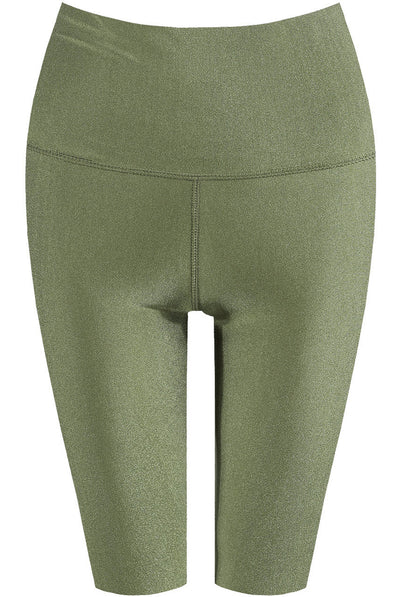 Khaki Green Satin Disco Cycling Shorts - Helen