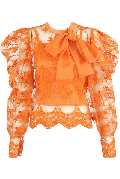 Orange Lace Mesh Bow Embroidery Blouse - Alicia