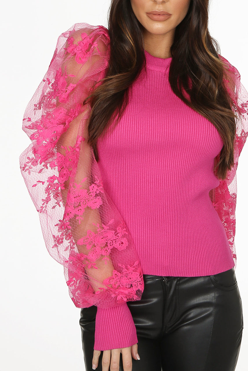 Pink Organza Lace Embroidery Sleeve Jumper - Kiara