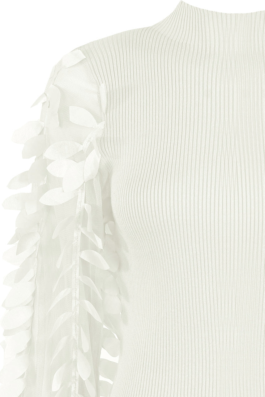 White Leaf Trim Sleeves Ribbed Top - Halle