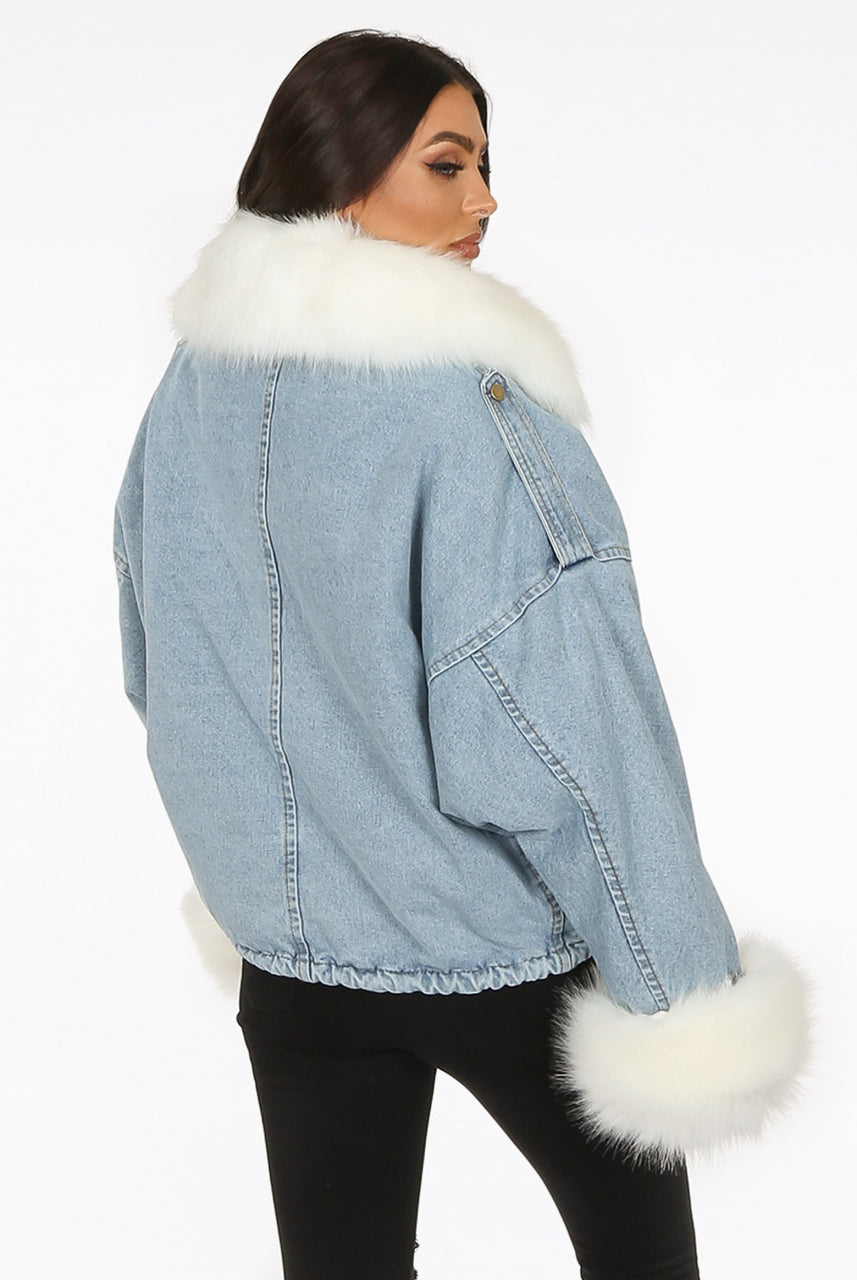 Light Denim Blue Oversize Denim White Fur Jacket - Harley