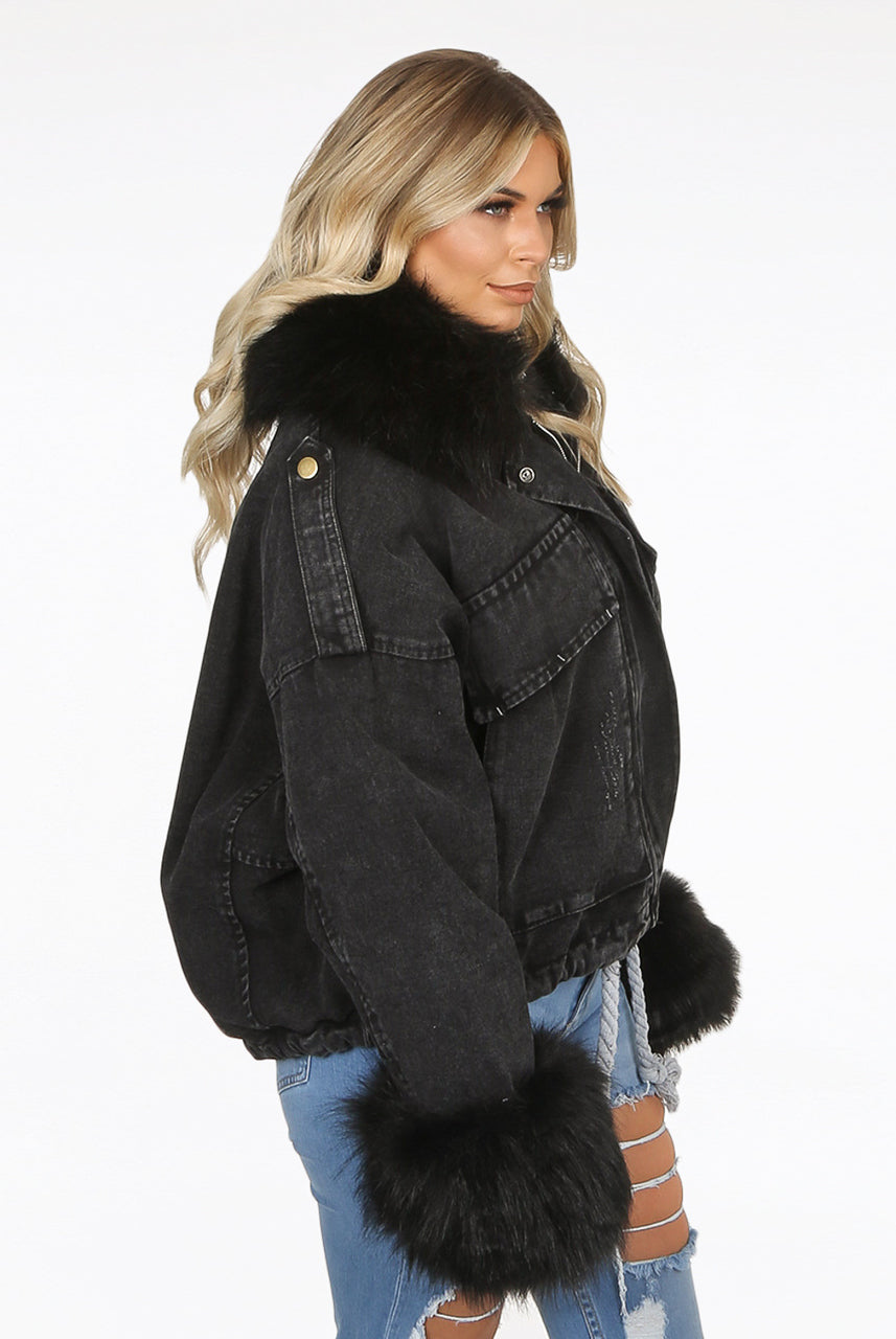 Black Denim Oversize Black Fur Jacket - Harley