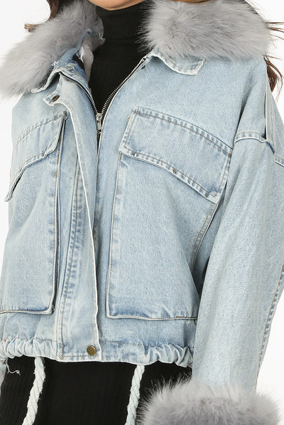 Light Denim Blue Oversize Denim Fur Jacket - Harley