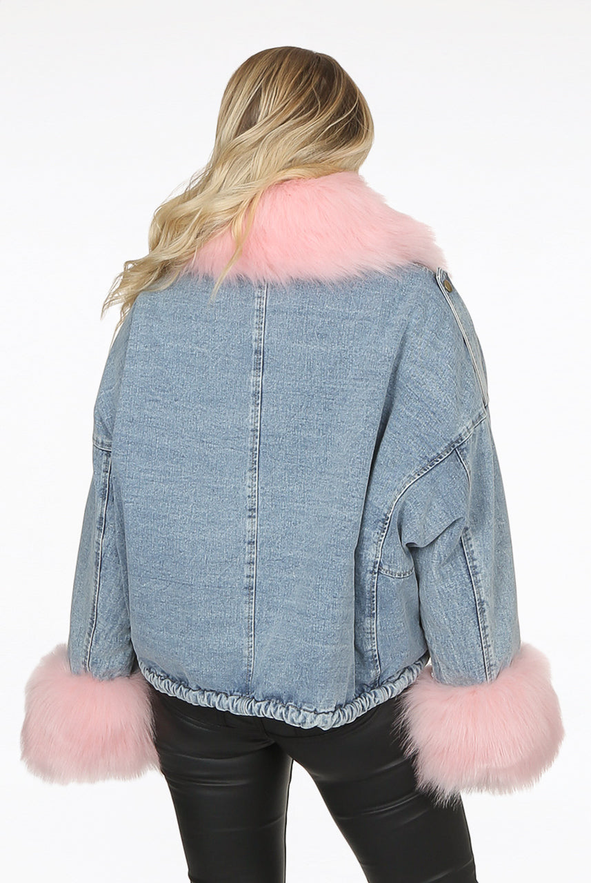 Light Denim Blue Oversize Pink Fur Jacket - Harley