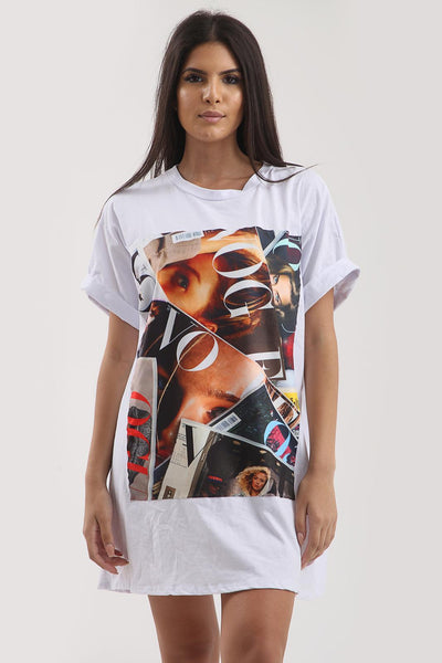 White Vogue Cover Printed Over Sized T-shirt Top - Bailey