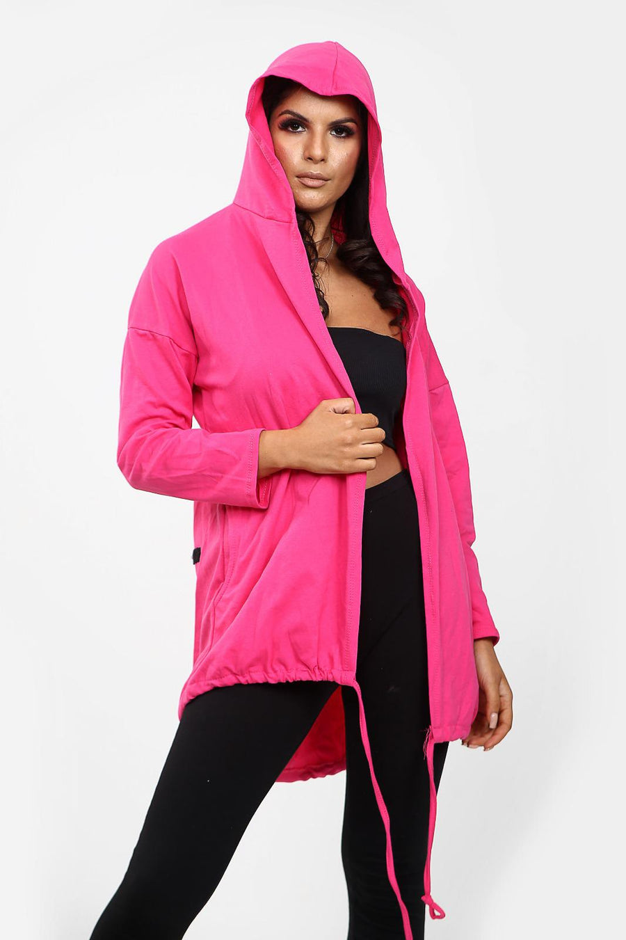 Pink Rock & Roll Baggy Hooded Cardigan Jacket - Tessa