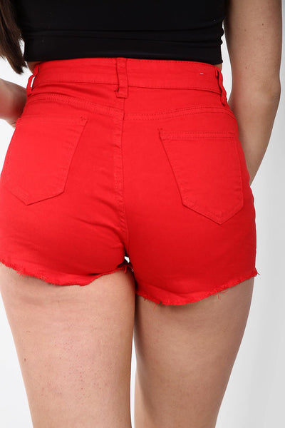 Hot Red Denim Mid Rise Frayed Hotpants - Alexa