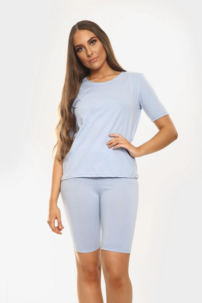 Baby Blue Round Neck Cycling Shorts Loungewear Set - Addilyn