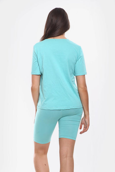 Turquoise Round Neck Cycling Shorts Loungewear Set - Addilyn