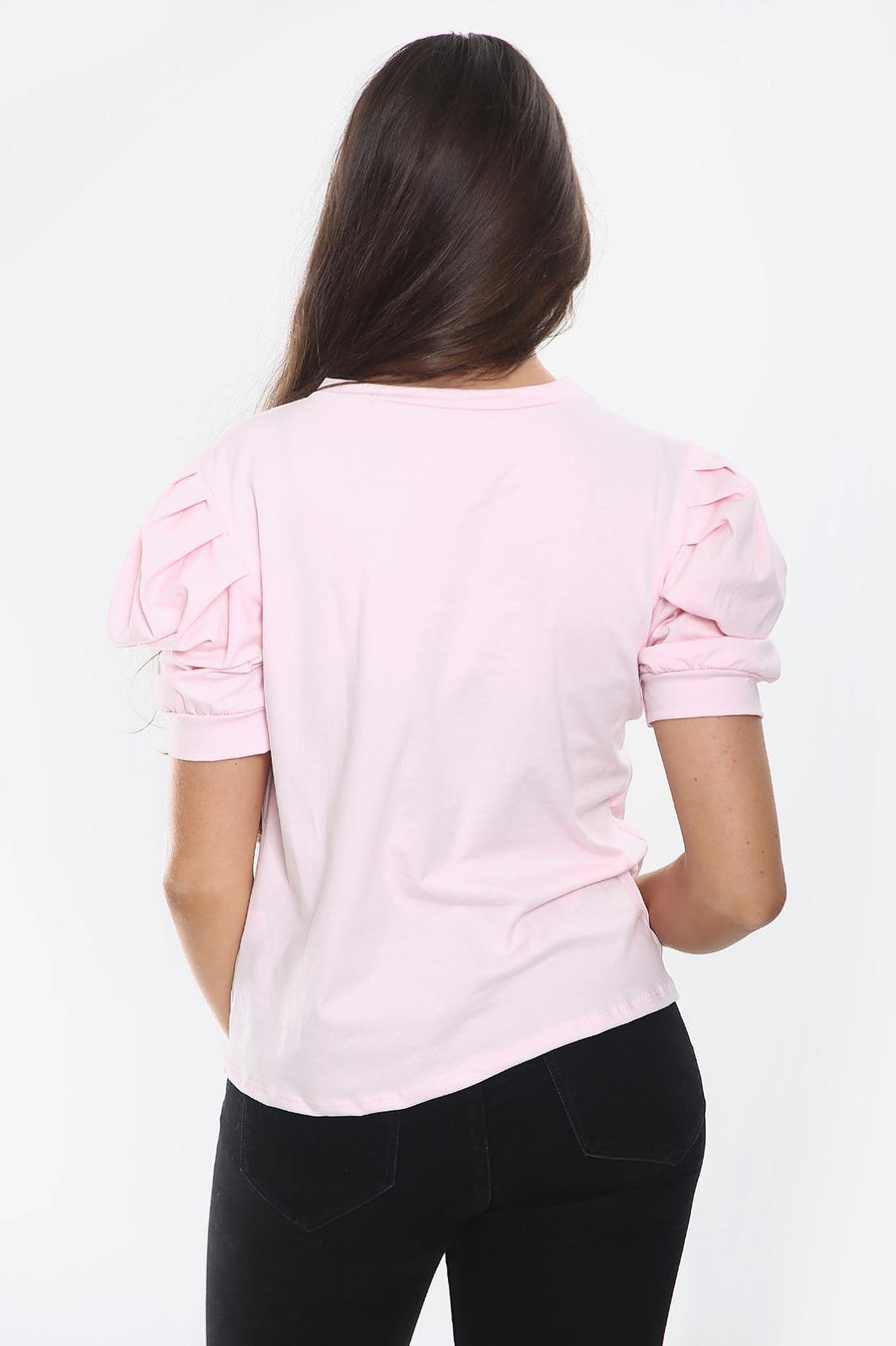 Baby Pink Puff Sleeve Vogue Print Top - Ryan