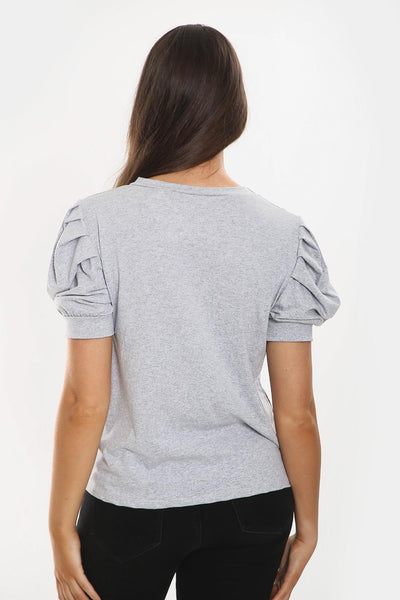 Grey Puff Sleeve Vogue Print Top - Ryan