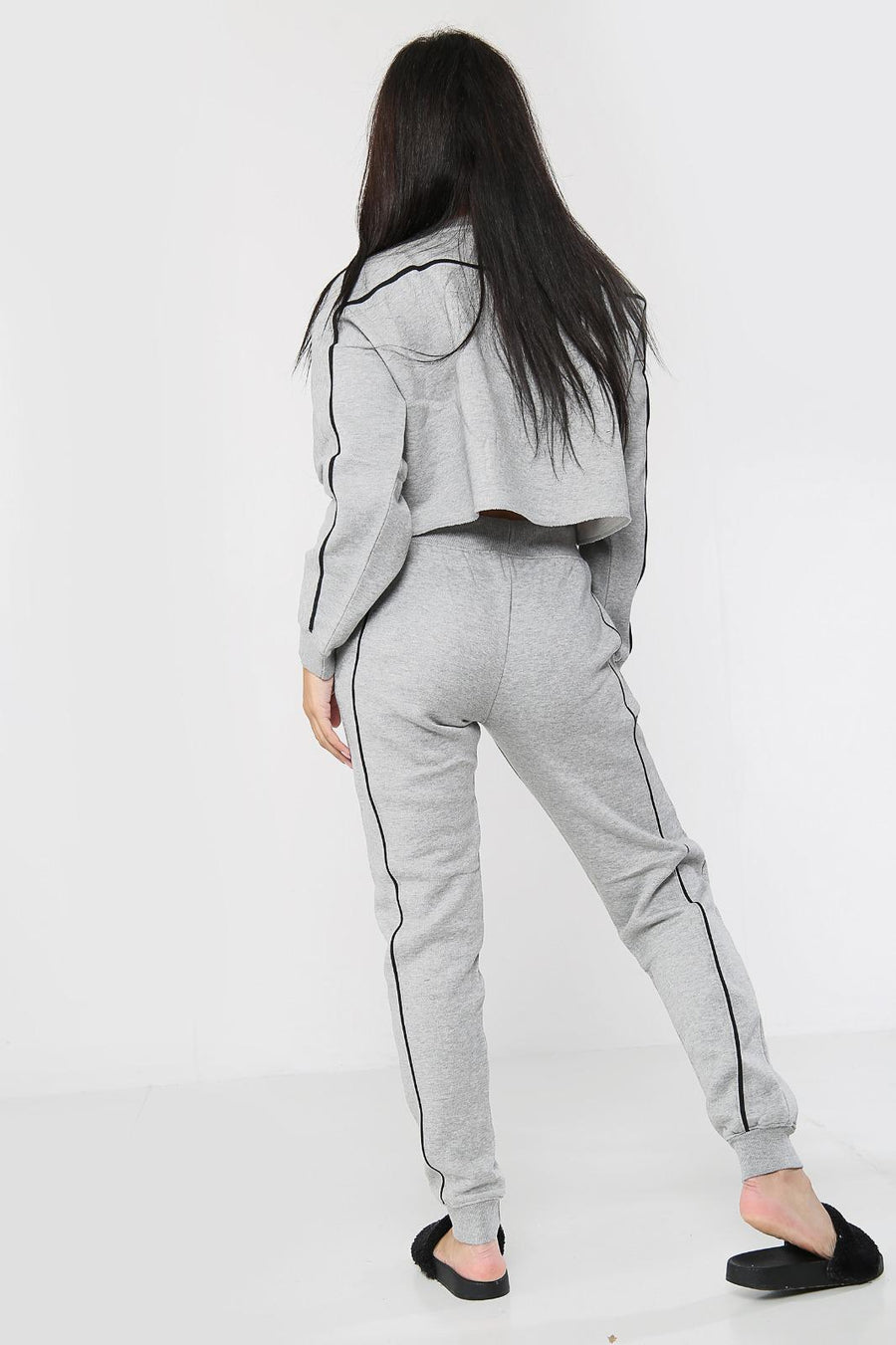 Grey Jersey Stripe Baggy Top & Pants Set - Erika