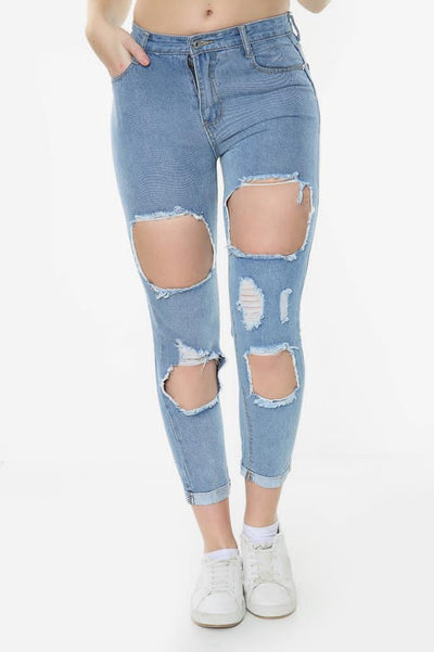 Light Blue Denim Thigh Knee Rip Mom Jeans - Journee