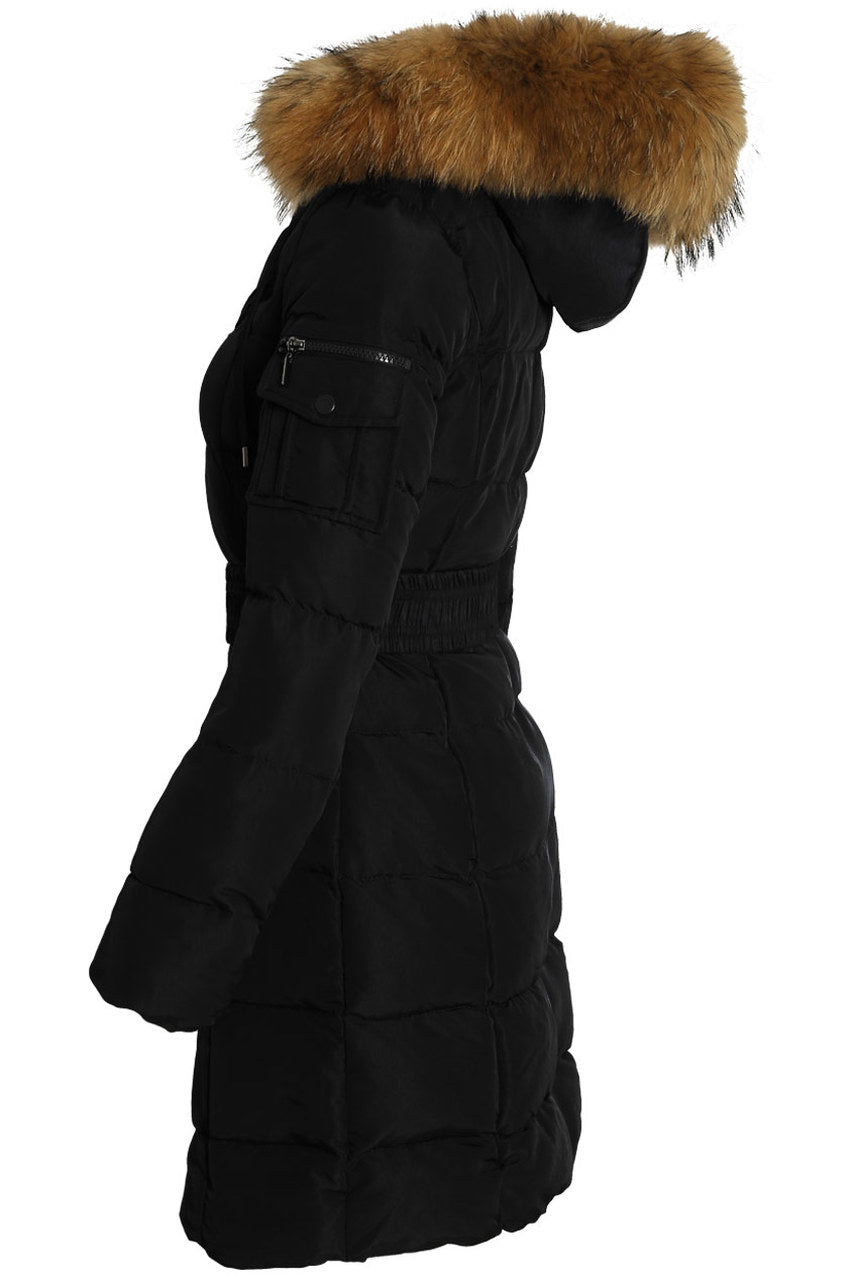 Black Long Line Real Fur Hood Belt Puffer Zip Jacket - Viviana