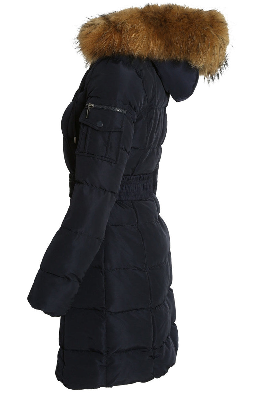 Navy Blue Long Line Real Fur Hood Belt Puffer Zip Jacket - Viviana