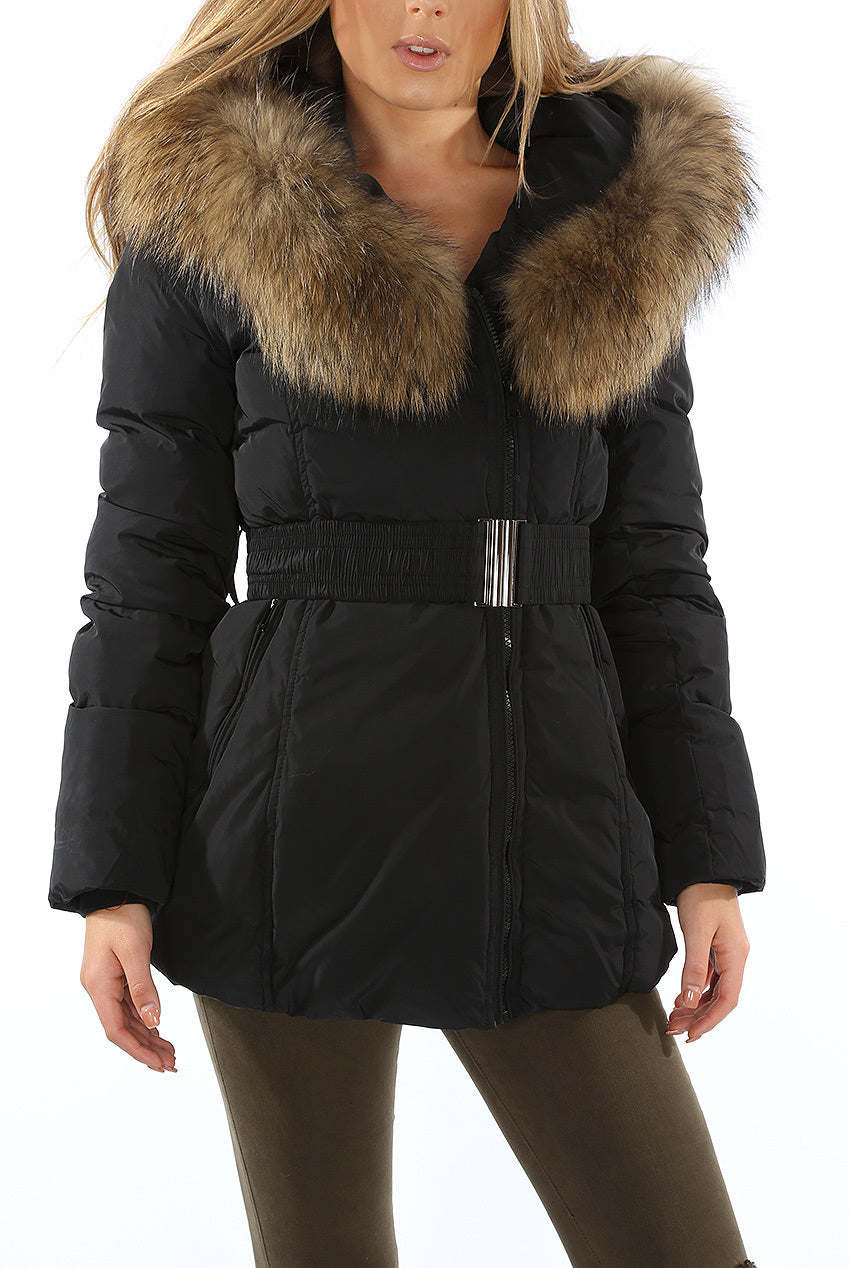 good out x hoard as a rare commodity better price for Womens Coat Black Fur Hood Padded Parka Jacket - Linda ...