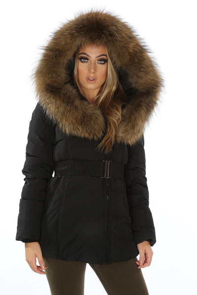 Womens Coat Black Real Fur Hood Padded Parka Jacket - Linda - Storm Desire