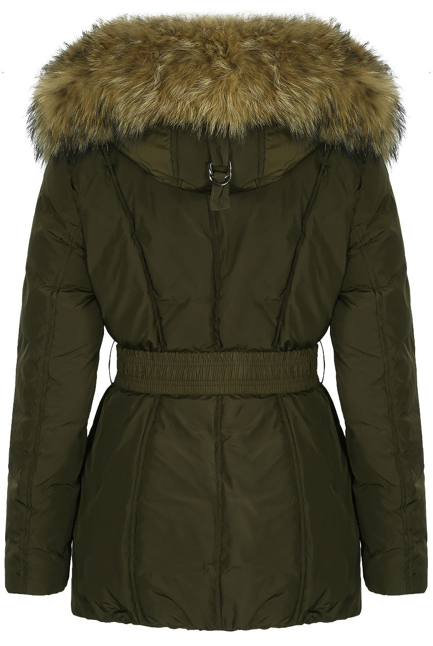 Womens Coat Khaki Green Fur Hood Padded Parka Jacket - Linda - Storm Desire