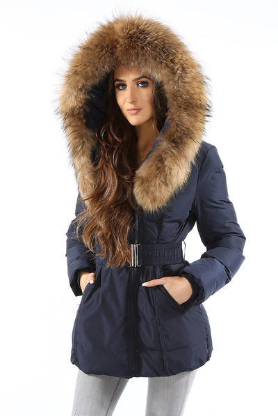 Womens Coat Navy Blue Fur Hood Padded Parka Jacket - Linda - Storm Desire