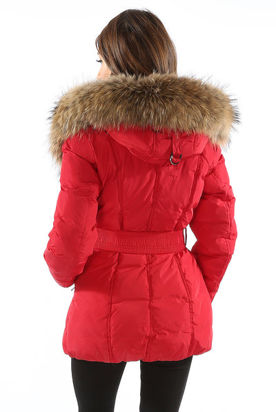 Red Real Fur Hood Padded Parka Jacket Coat - Storm Desire