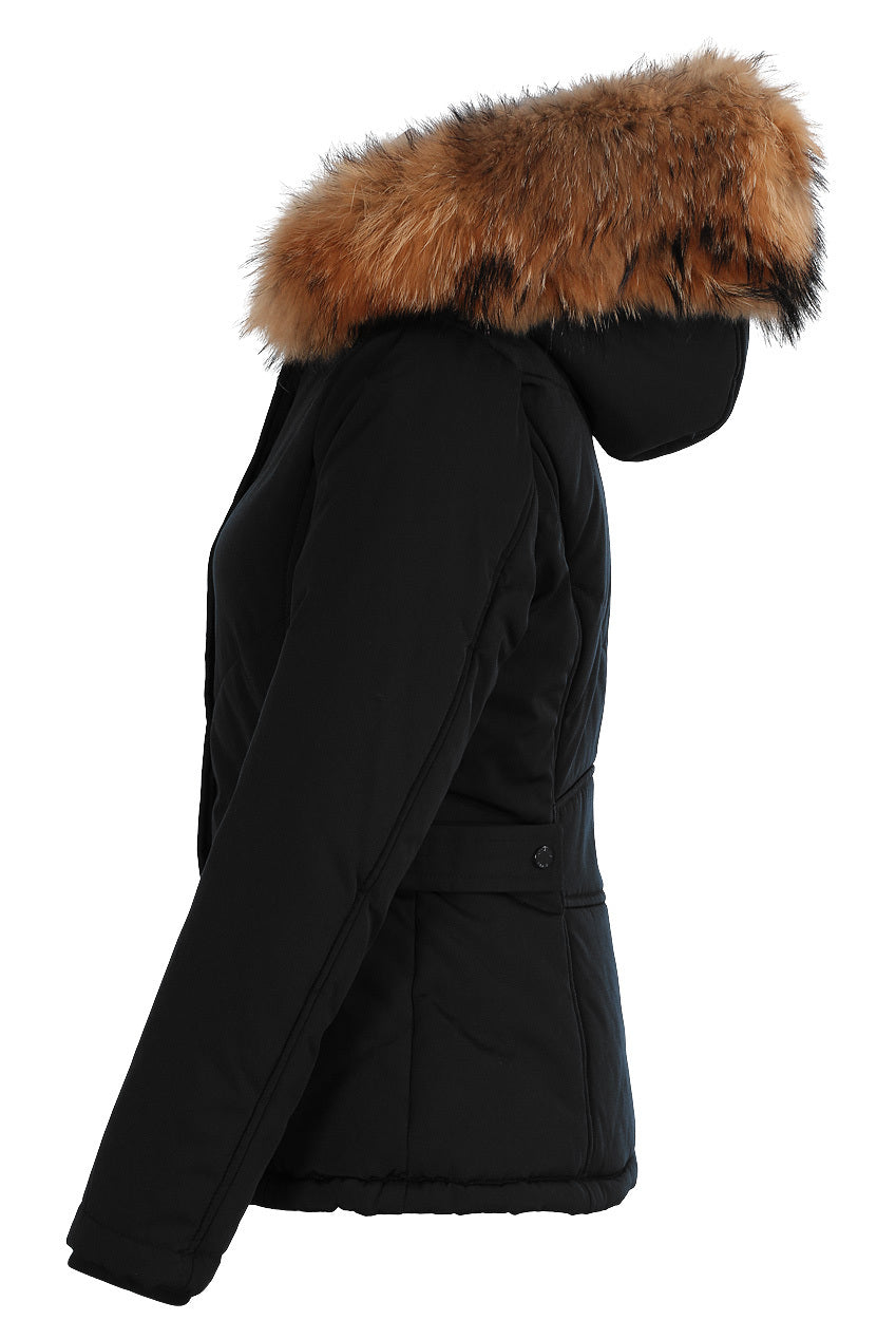 Black Fur Hood Regular Parka Jacket - Lydia - storm desire