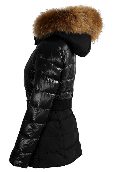 Black Real Fur Quilted Parka Jacket Shine & Dull Two Tone  - Zoey - storm desire
