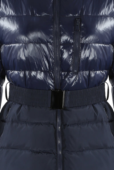 Zoey Navy Blue Shine & Dull Two Tone Real Fur Quilted Parka Jacket - Storm Desire