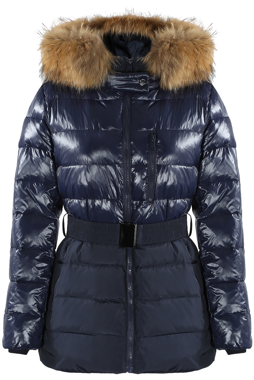 Navy Blue Shine & Dull Two Tone Real Fur Quilted Parka Jacket - Storm Desire