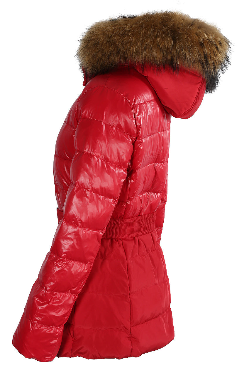 Zoey Red Shine & Dull Two Tone Real Fur Quilted Parka Jacket - Storm Desire