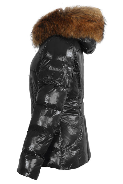 Black Shiny Natural Real Raccoon Fur Hood Puffer Quilted Jacket - Zara - storm desire