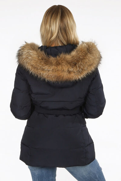 Navy Blue Natural Fur Hood Puffer Jacket - Zara