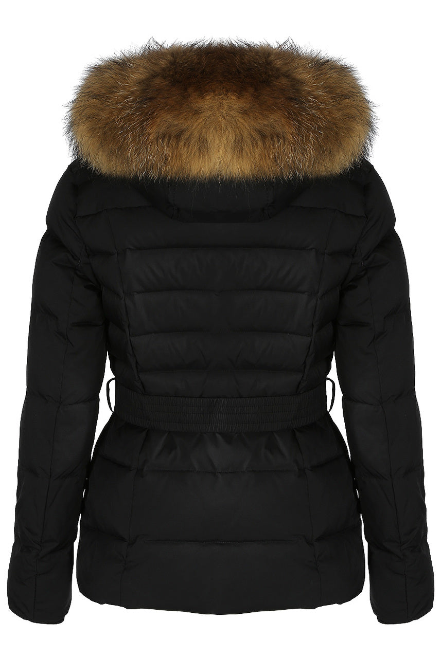 Black Quilted Layered Fur Hood Belt Puffer Zip Jacket - Carmen