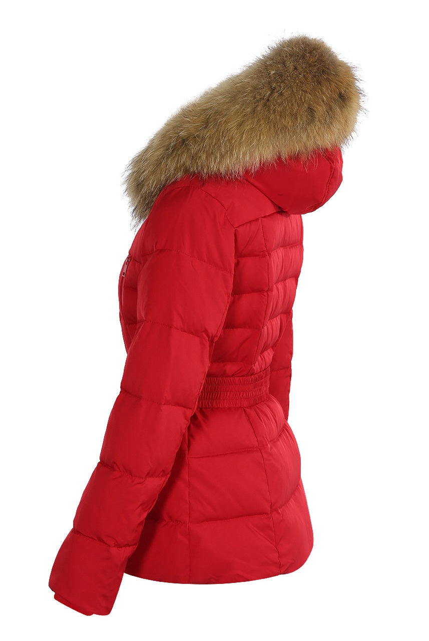 Red Quilted Layered Fur Hood Belt Puffer Zip Jacket - Carmen