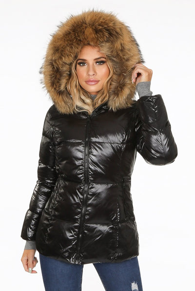 Black Natural Fur Hood Shiny Mid Length Puffer Jacket - Belinda