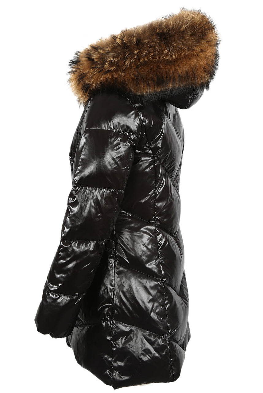 Black Quilted Fur Hood Shiny Long Length Puffer Jacket - Maeve