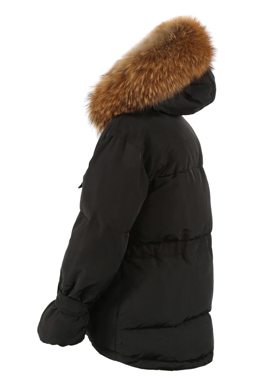 Black Natural Fur Hood Tie Up Puffer Jacket - Winter