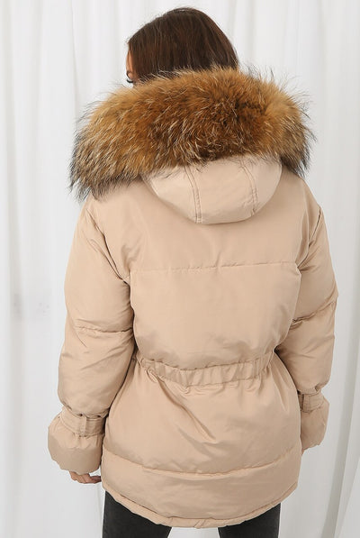 Beige Natural Fur Hood Tie Up Puffer Jacket - Jemima