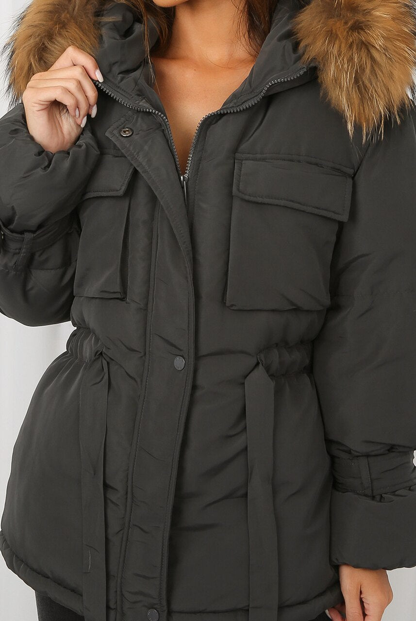 Grey Natural Fur Hood Tie Up Puffer Jacket - Jemima