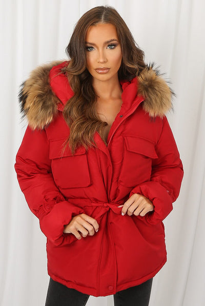 Red Natural Fur Hood Tie Up Puffer Jacket - Jemima