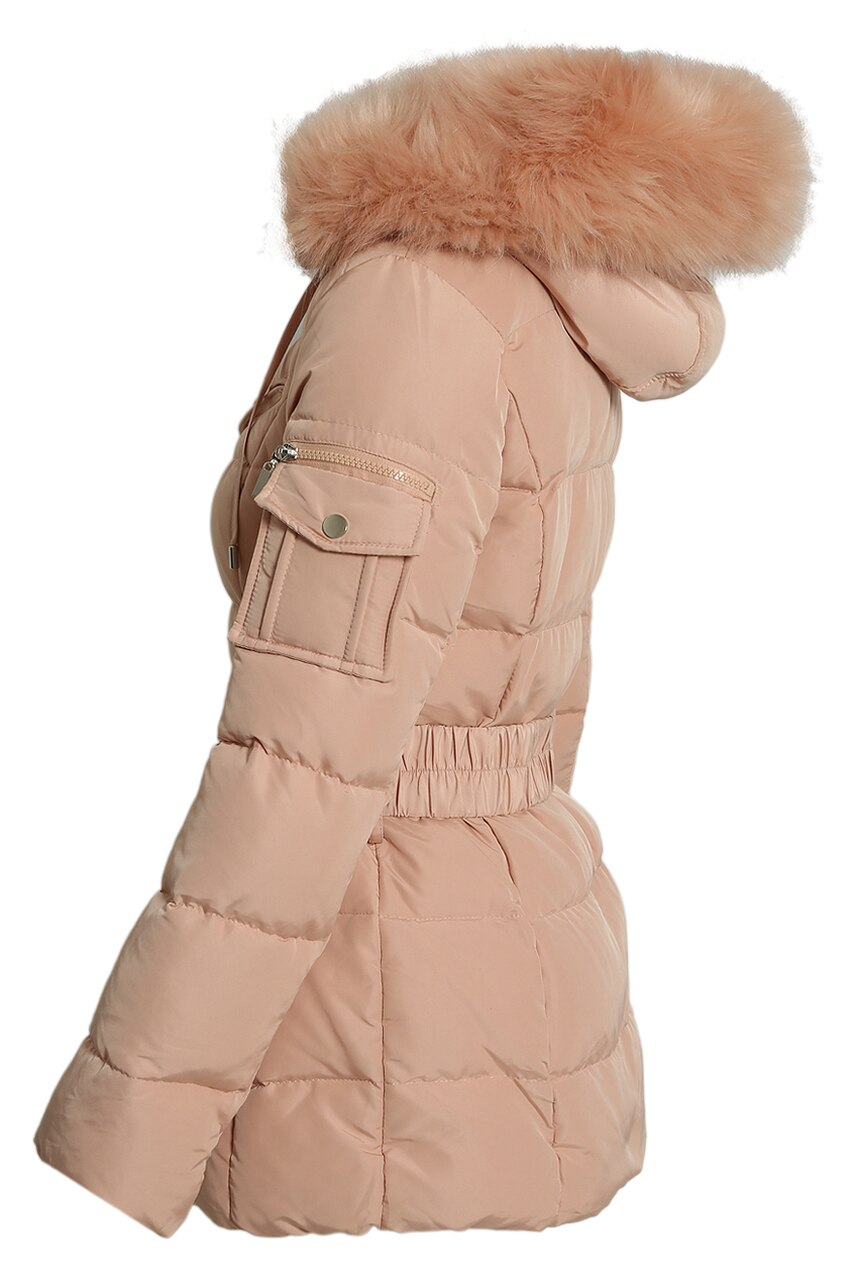 Pink Quilted Natural Fur Hood Puffer Jacket - Aria