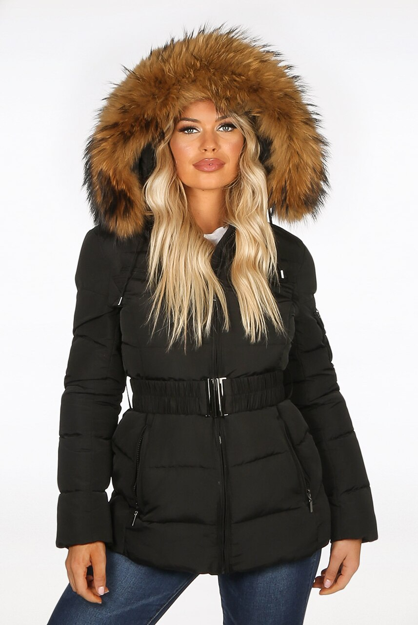 Black Natural Fur Hood Belt Puffer Zip Jacket - Aria