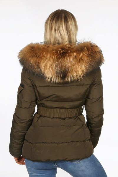 Khaki Green Quilted Fur Hood Belt Puffer Zip Jacket - Aria