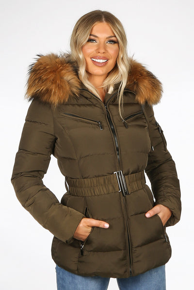 Khaki Green Quilted Natural Fur Hood Puffer Jacket - Aria