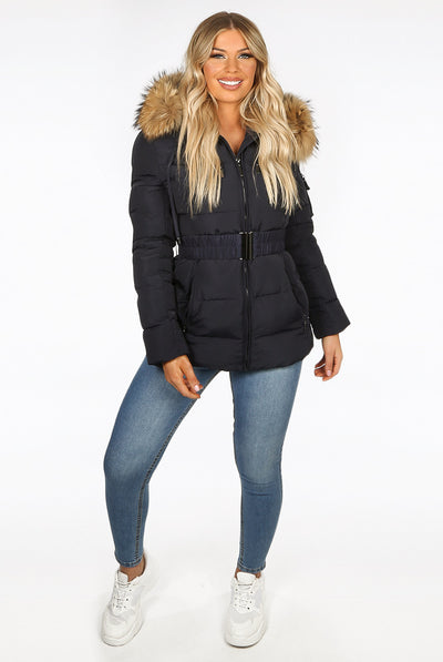 Navy Blue Quilted Natural Fur Hood Puffer Jacket - Aria