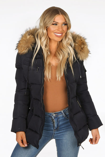 Navy Blue Quilted Fur Hood Belt Puffer Zip Jacket - Aria