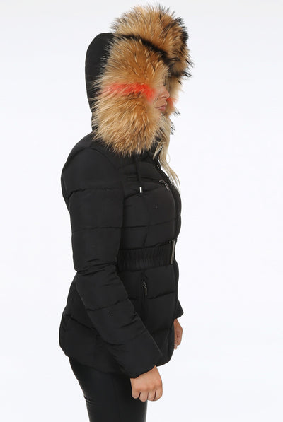 Black Quilted Multi Colour Fur Hood Belt Puffer Zip Jacket - Aria