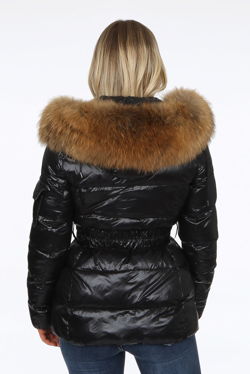 Black Shiny Quilted Fur Hood Belt Puffer Zip Jacket - Heaven