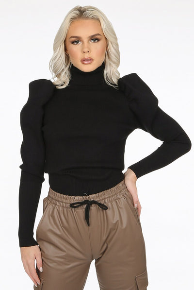Black Puff Sleeve High Neck Jumper - Camila