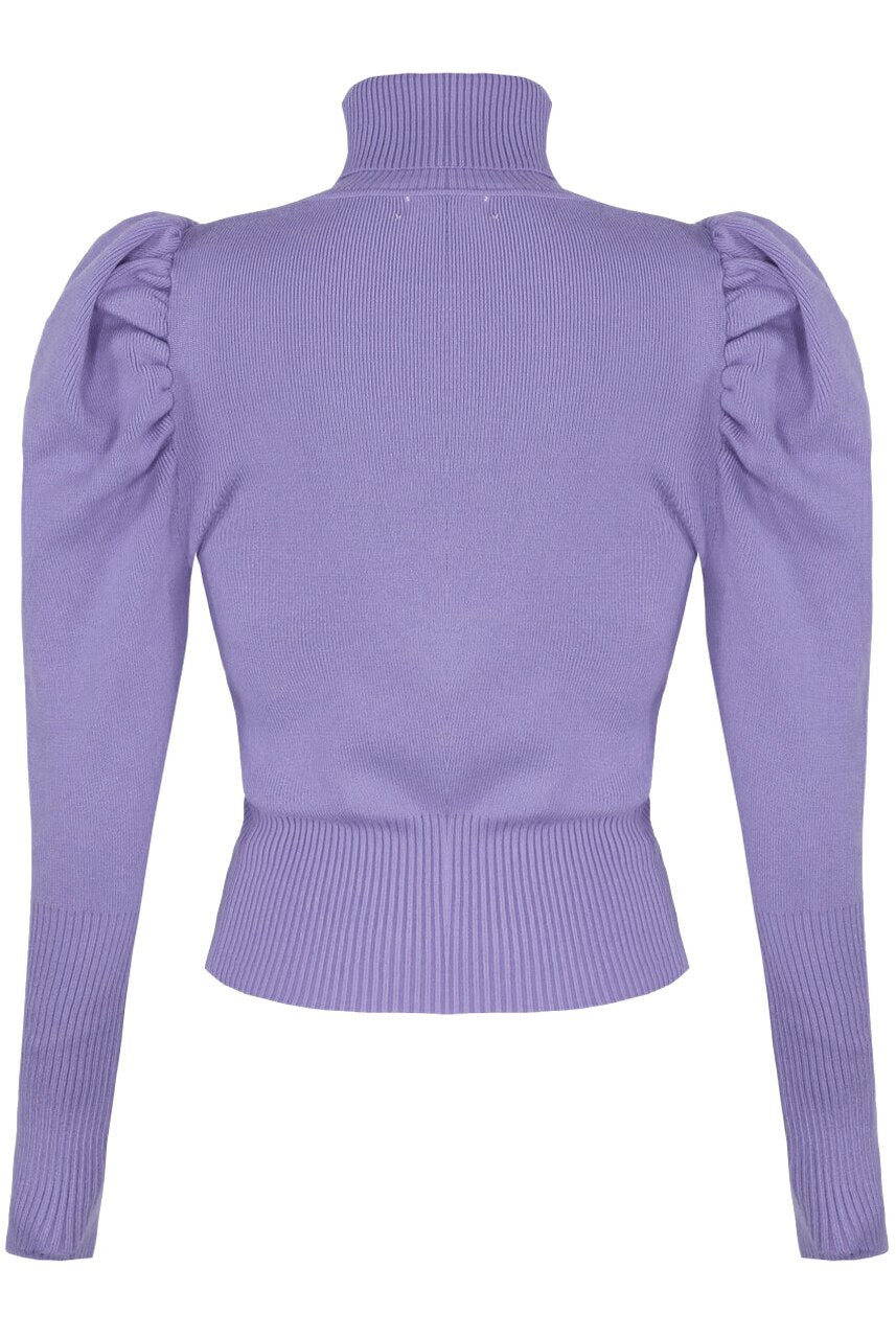 Lilac Puff Sleeve High Neck Jumper - Camila